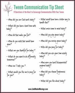 Tween Encouragement Tip Sheet