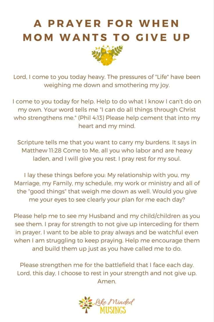 I Quit - A Prayer for When Mom Wants to Give Up | Like Minded Musings