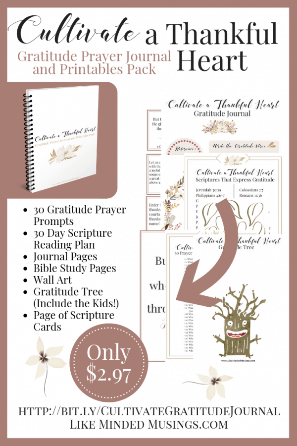 Pinterest Cultivate a Thankful Heart Gratitude Journal Printable Pack Like Minded Musings