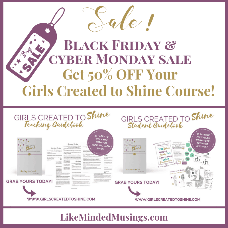 Black Friday and Cyber MOnday Sale Girls Created to Shine on Like Minded Musings.com