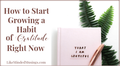 How to Grow in the Habit Gratitude Right Now Challenge Like Minded Musings Featured
