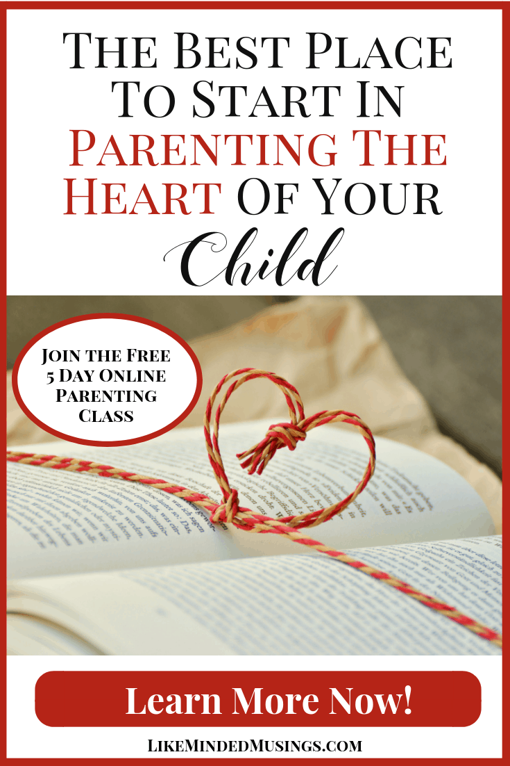 Find Out How To Start Parenting The Heart Of Your Child in this 5 Part Free Parenting Class on Like Minded Musings
