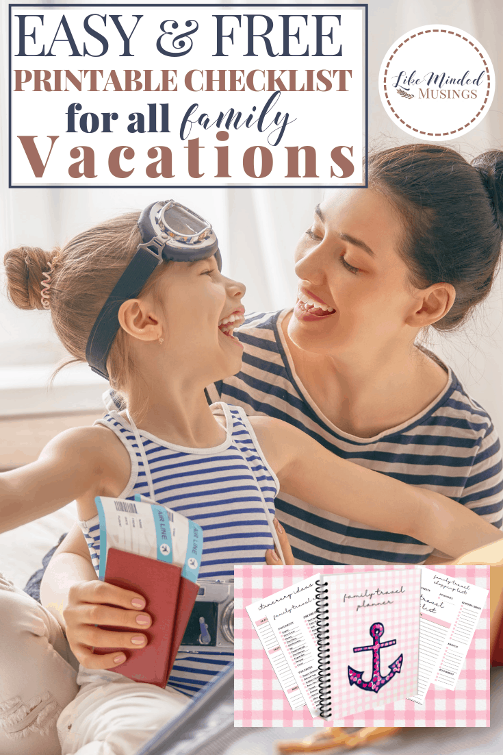 Pin Easy, FREE Printable Checklist for All Family Vacations