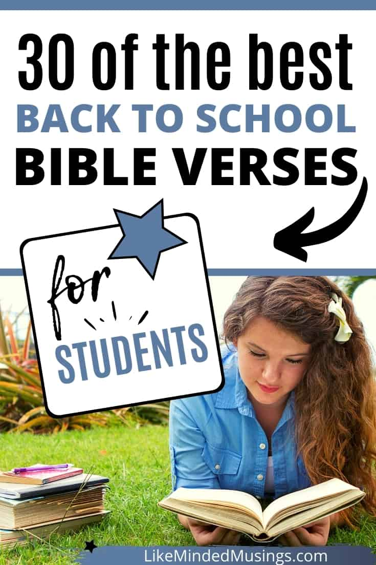 Girl reading homeschool bible verses before going back to school